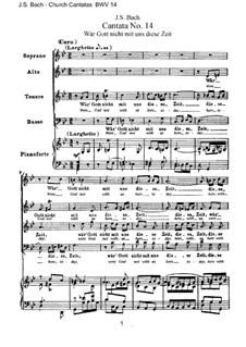 Wär Gott nicht mit uns diese Zeit, BWV 14: Клавир с вокальной партией by Иоганн Себастьян Бах