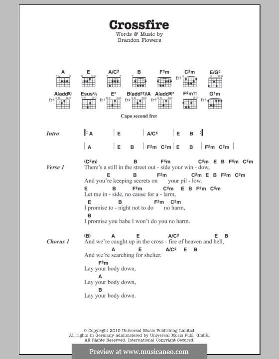 Crossfire: Текст, аккорды by Brandon Flowers