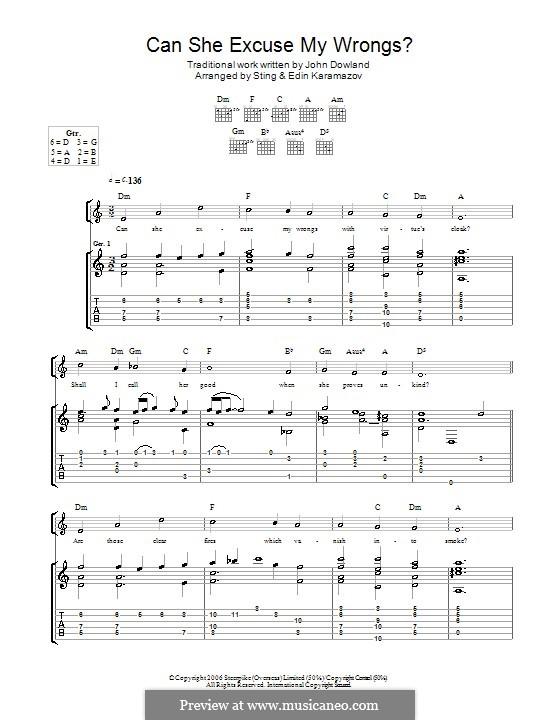 Can She Excuse My Wrongs: Для гитары by Джон Доуленд