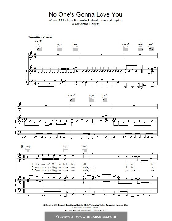 No One's Gonna Love You: For voice and piano or guitar (Band Of Horses) by Benjamin Bridwell, Creighton Barrett, James Hampton
