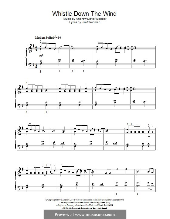 Whistle Down the Wind (from Whistle Down the Wind): Для фортепиано (легкий уровень) by Andrew Lloyd Webber
