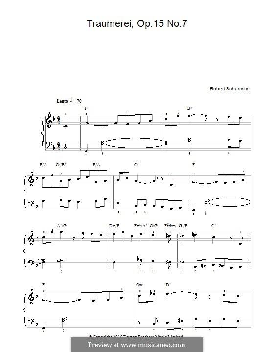No.7 Грезы: Для фортепиано (легкий уровень, с аккордами) by Роберт Шуман