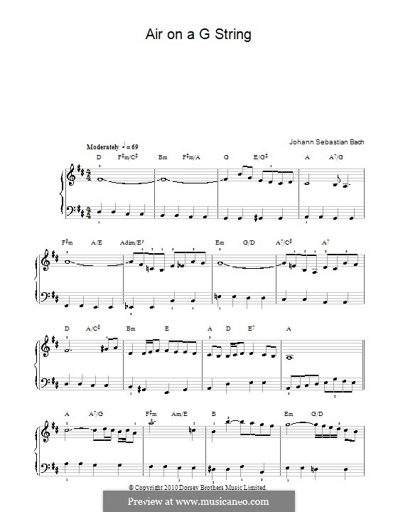 Aria (Printable Scores): Легкая версия для фортепиано by Иоганн Себастьян Бах
