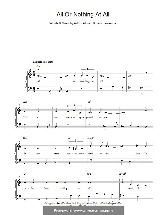 All or Nothing at All: Для начинающего пианиста by Arthur Altman, Jack Lawrence
