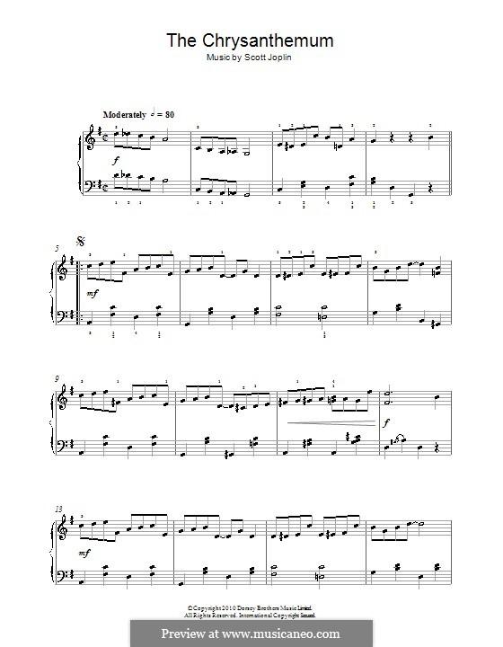 Хризантемы: Для фортепиано (легкий уровень) by Скотт Джоплин