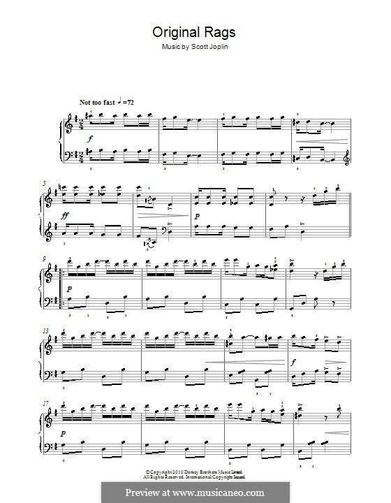 Original Rags: Для фортепиано (легкий уровень) by Скотт Джоплин