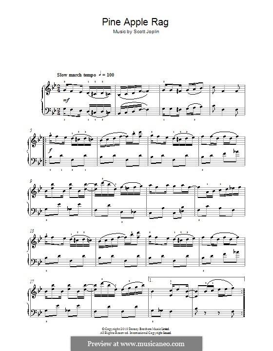 Pineapple Rag: Для фортепиано (легкий уровень) by Скотт Джоплин
