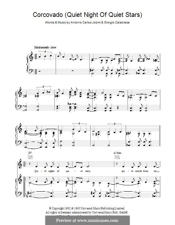 Corcovado (Quiet Nights of Quiet Stars): Для голоса и фортепиано (или гитары) by Antonio Carlos Jobim