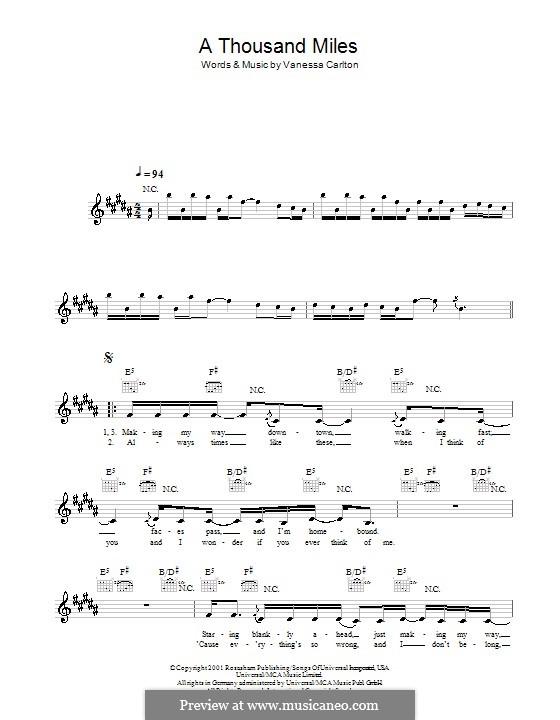 A Thousand Miles: Мелодия, текст и аккорды by Vanessa Carlton