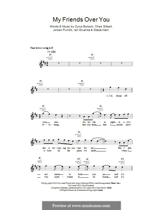 My Friends Over You (New Found Glory): Мелодия, текст и аккорды by Chad Gilbert, Cyrus Bolooki, Ian Grushka, Jordan Pundik, Stece Klein