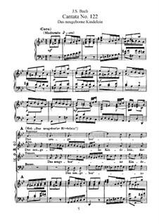 Das neugeborne Kindelein, BWV 122: Аранжировка для голосов и фортепиано by Иоганн Себастьян Бах