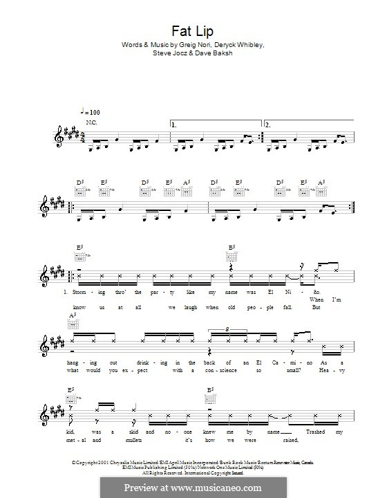 Fat Lip: Мелодия, текст и аккорды by Sum 41, Dave Baksh, Deryck Whibley, Greig Andrew Nori, Steve Jocz