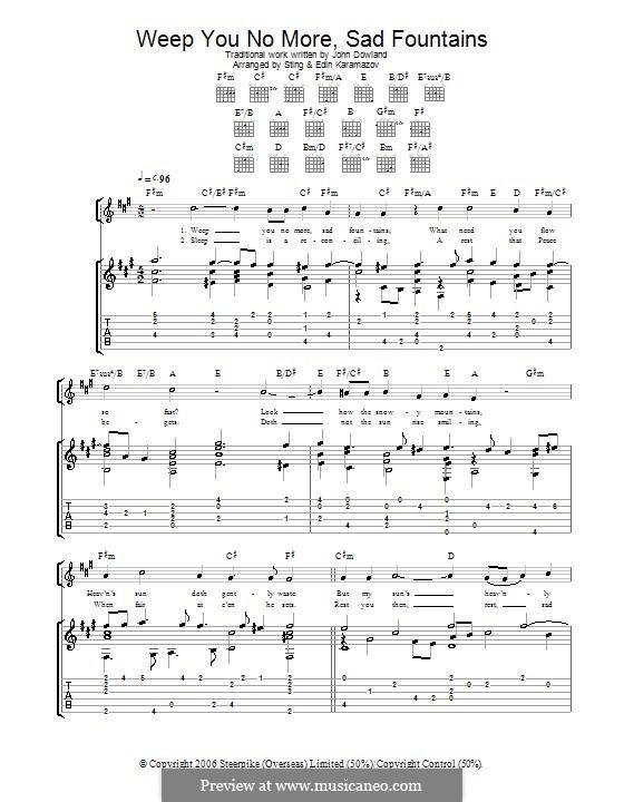 Weep You no More, Sad Fountains: Гитарная табулатура by folklore