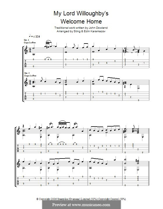 My Lord Willoughby's Welcome Home: Гитарная табулатура by folklore