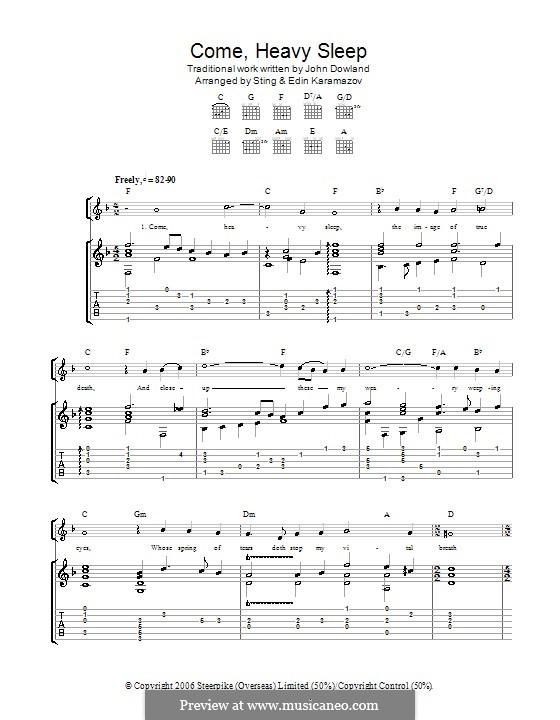 Come Heavy Sleep: Для гитары by Джон Доуленд