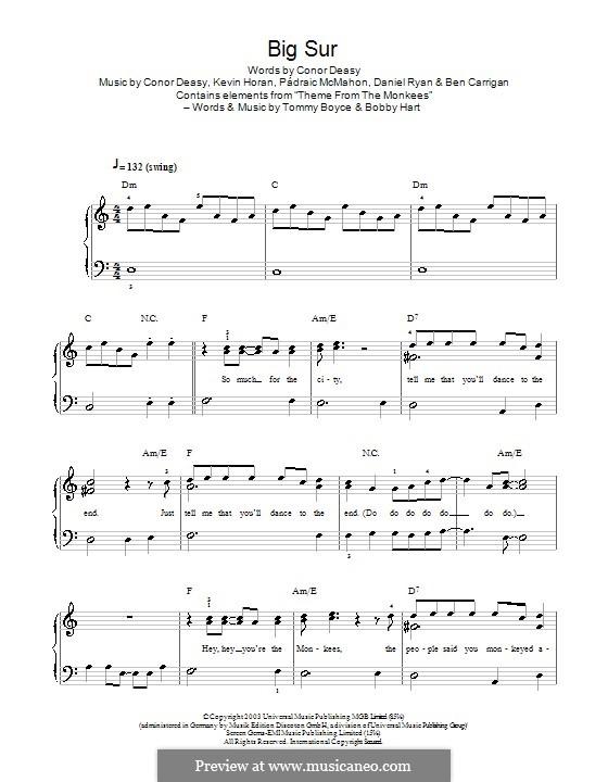 Big Sur (The Thrills): Для фортепиано (легкий уровень) by Ben Carrigan, Conor Deasy, Daniel Ryan, Kevin Horan, Pádraic McMahon