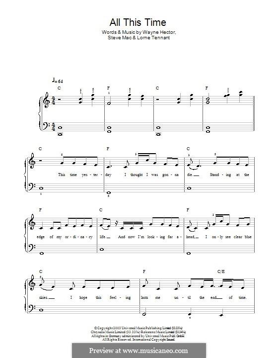 All This Time (Michelle McManus): Для фортепиано (легкий уровень) by Lorne Tennant, Steve Mac, Wayne Anthony Hector