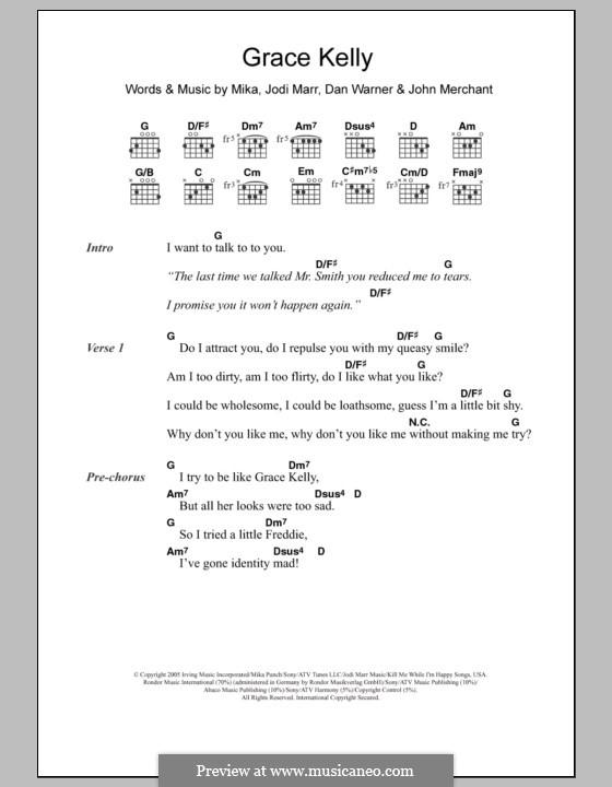 Grace Kelly: Текст и аккорды by Mika, Dan Warner, Jodi Marr, John Merchant