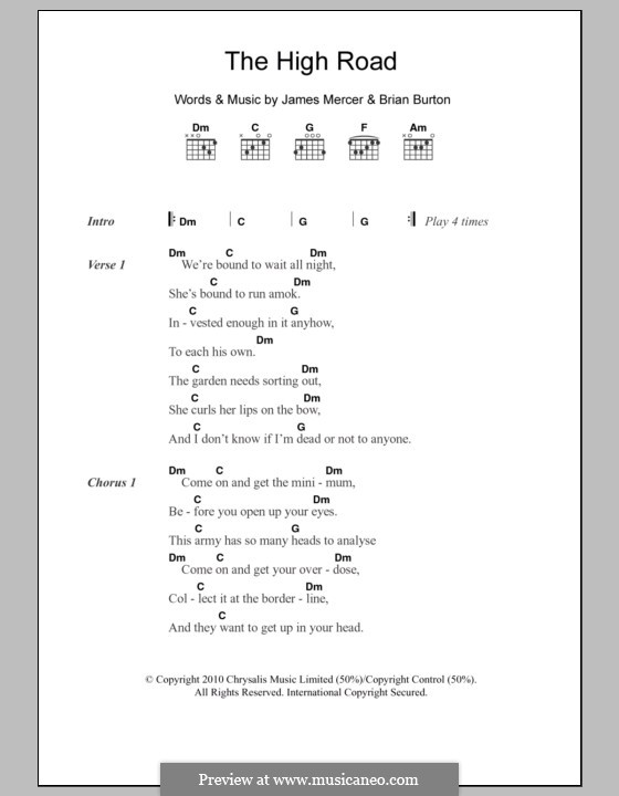 The High Road (Broken Bells): Текст и аккорды by Brian Burton, James Mercer