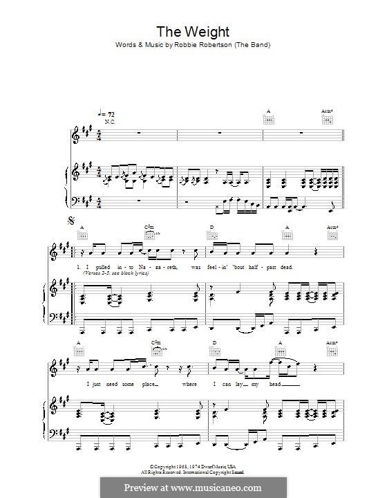 The Weight (The Band): Для голоса и фортепиано (или гитары) by Robbie Robertson