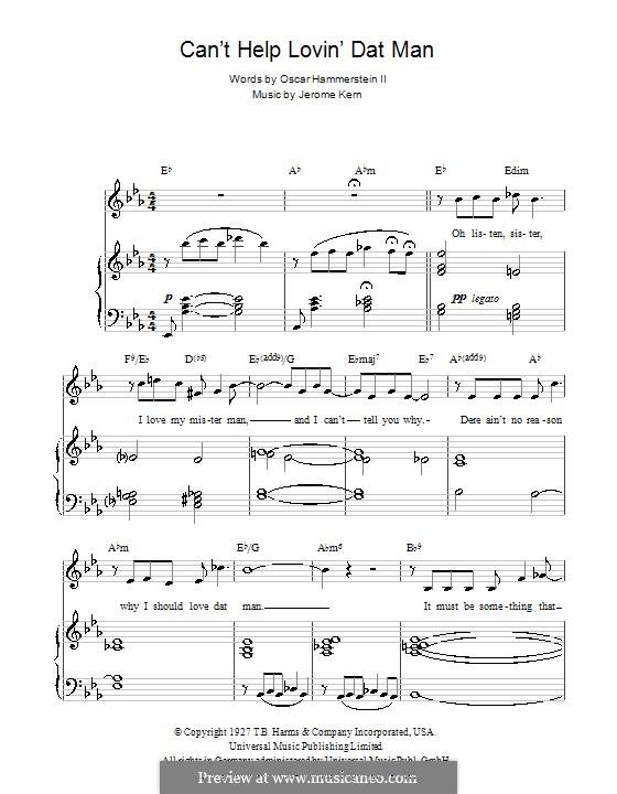 Can't Help Lovin' Dat Man (from Show Boat): Для голоса и фортепиано (или гитары) by Джером Керн