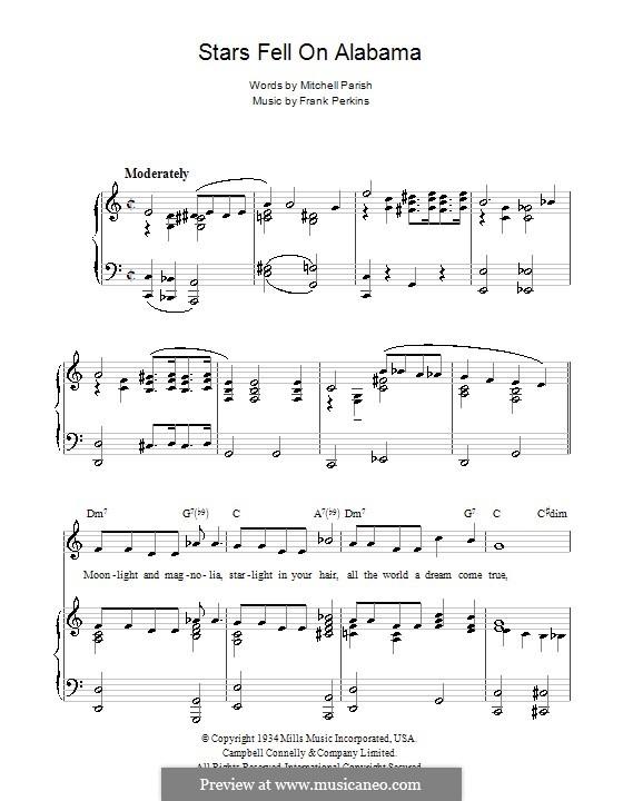 Stars Fell on Alabama (Benny Goodman): Для голоса и фортепиано (или гитары) by Frank Perkins