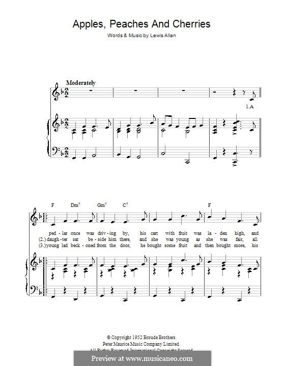 Apples, Peaches and Cherries (Peggy Lee): Для голоса и фортепиано (или гитары) by Lewis Allan