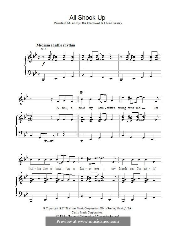 All Shook Up: Для голоса и фортепиано (или гитары) by Elvis Presley, Otis Blackwell