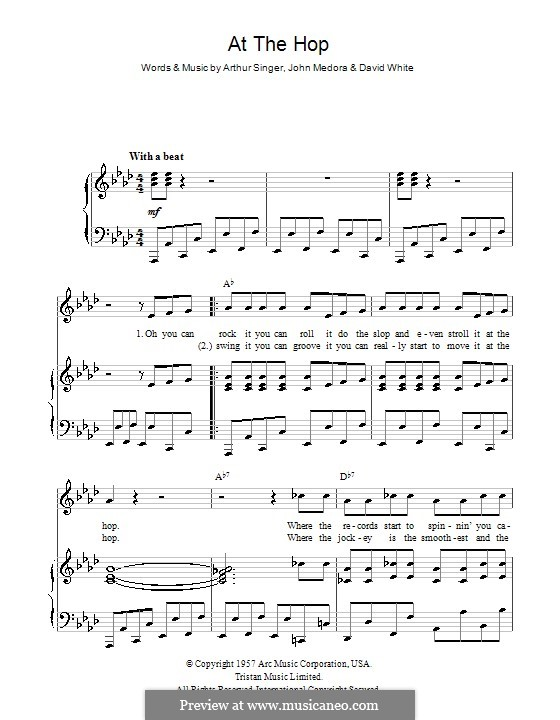 At the Hop (Danny & The Juniors): Для голоса и фортепиано (или гитары) by Arthur Singer, David White, John Medora