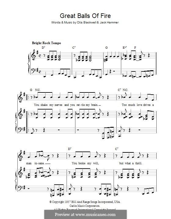 Great Balls of Fire (Jerry Lee Lewis): Для голоса и фортепиано или гитары (соль мажор) by Jack Hammer, Otis Blackwell