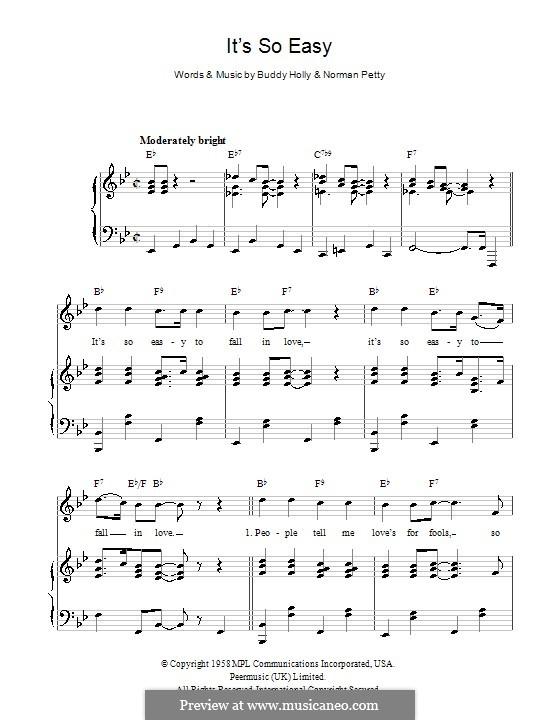 It's So Easy: Для голоса и фортепиано (или гитары) by Buddy Holly, Norman Petty