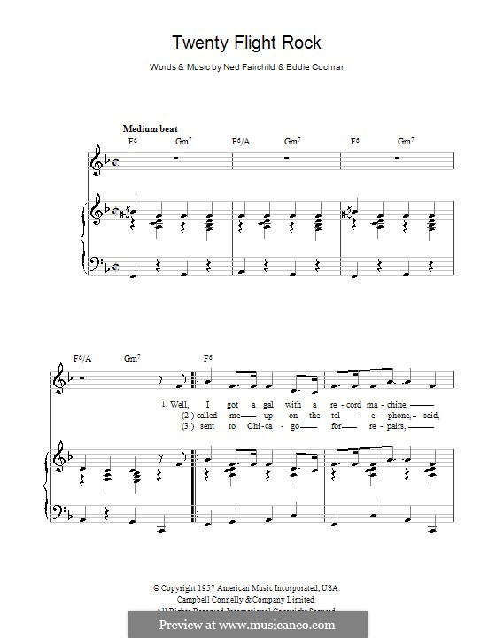 Twenty Flight Rock: Для голоса и фортепиано (или гитары) by Eddie Cochran, Ned Fairchild