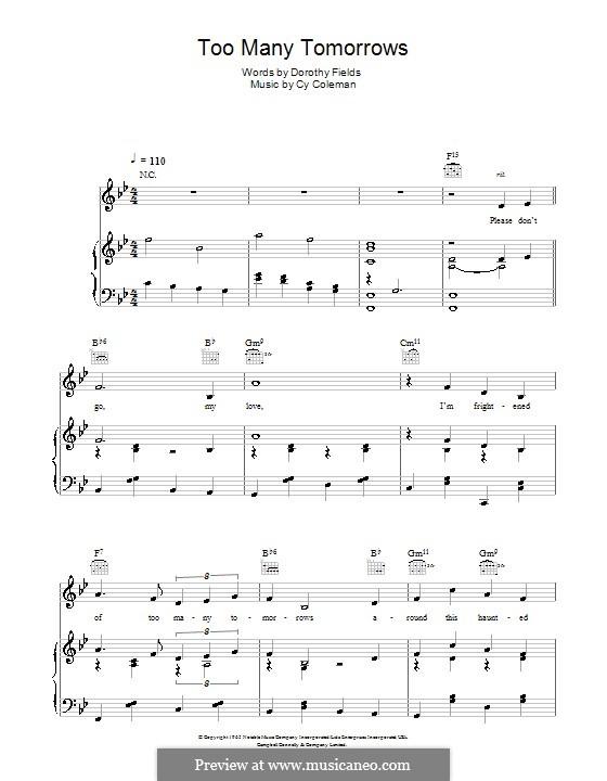 Too Many Tomorrows: Для голоса и фортепиано (или гитары) by Cy Coleman