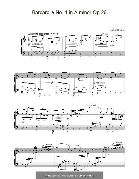 Баркарола No.1 ля-минор, Op.26: Для фортепиано by Габриэль Форе
