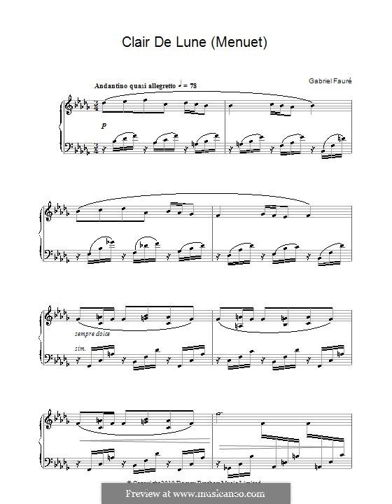 Clair de lune (Menuet): Для фортепиано by Габриэль Форе