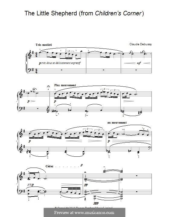 No.5 Маленький пастушок: Для фортепиано (с аппликатурой) by Клод Дебюсси