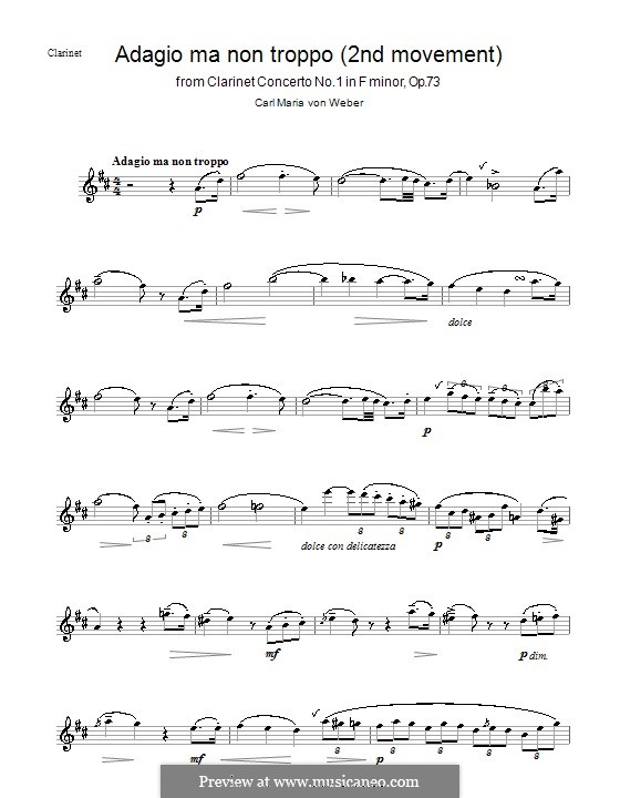 Концерт для кларнета с оркестром No.1, J.114 Op.73: Часть II – Сольная партия by Карл Мария фон Вебер