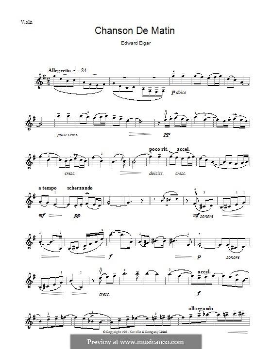 Две пьесы, Op.15: No.2 Chanson de matin, for violin by Эдуард Элгар