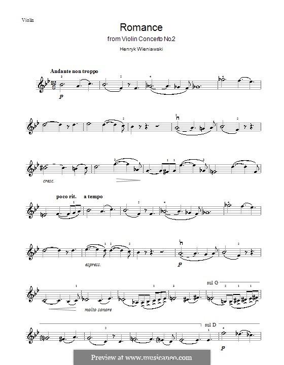 Концерт для скрипки с оркестром No.2, Op.22: Сольная партия, часть II by Генрик Венявский