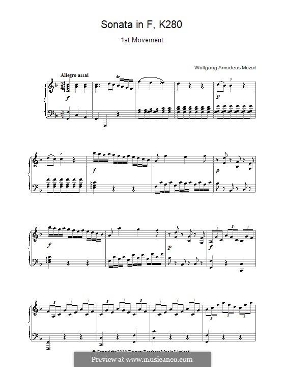 Соната для фортепиано No.2 фа мажор, K.280: Часть I by Вольфганг Амадей Моцарт