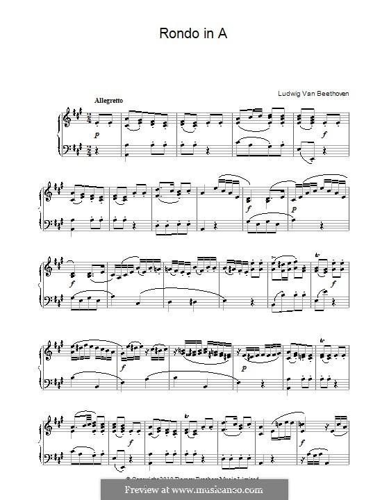 Рондо ля мажор, WoO 49: Для фортепиано (ноты высокого качества) by Людвиг ван Бетховен