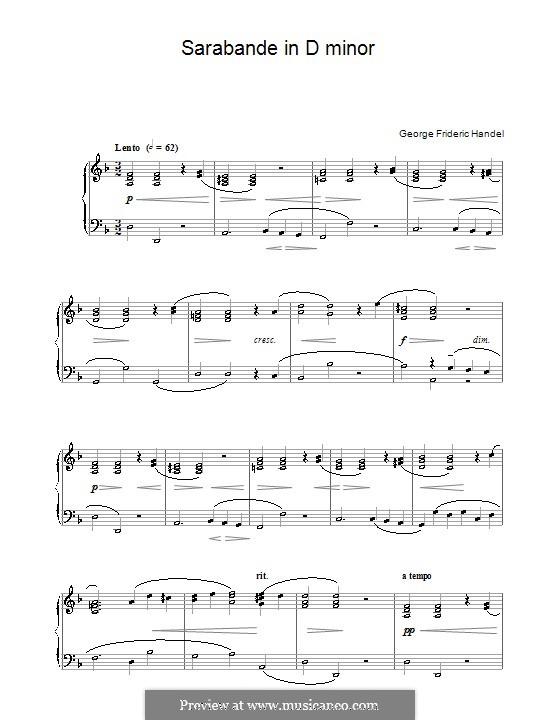 Сюита No.4 ре минор, HWV 437: Сарабанда, для фортепиано by Георг Фридрих Гендель