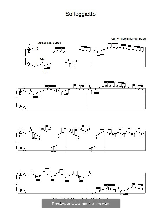 Сольфеджио, H 220 Wq 117:2: Для фортепиано by Карл Филипп Эммануил Бах