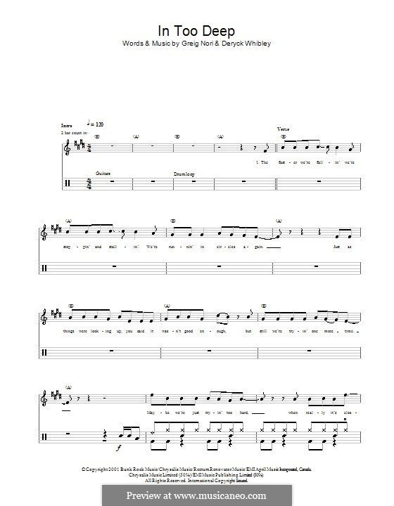 In Too Deep (Sum 41): Для ударных by Deryck Whibley, Greig Andrew Nori