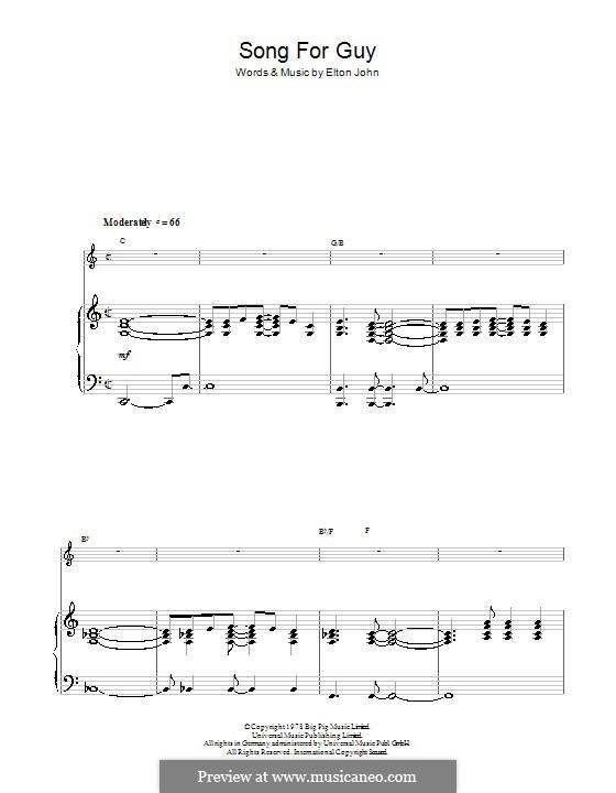 Song for Guy: Для голоса и фортепиано by Elton John