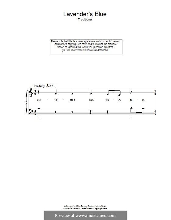 Lavender Blue: Для фортепиано (легкий уровень) by folklore