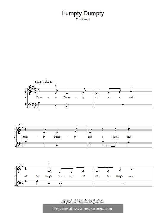 Humpty Dumpty: Для фортепиано (легкий уровень) by folklore