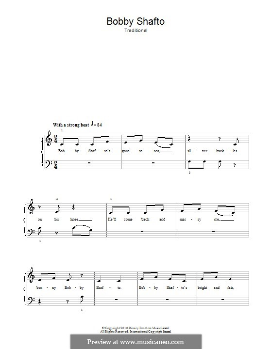 Bobby Shafto: Для фортепиано (легкий уровень) by folklore