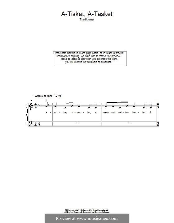 A-tisket, A-tasket: Для фортепиано (легкий уровень) by folklore