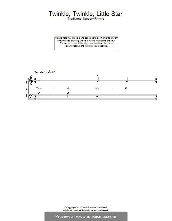 Twinkle, Twinkle Little Star: Для фортепиано (легкий уровень) by folklore